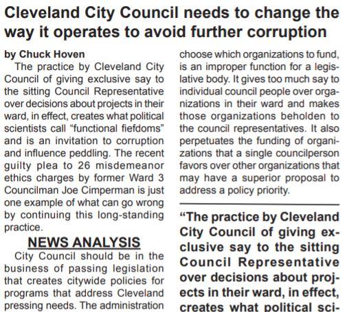 Chuck Hoven at PLAIN PRESS calls out criminal deals at CLE City Council