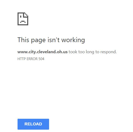 NO CERT response or coordination -City of Cleveland website down