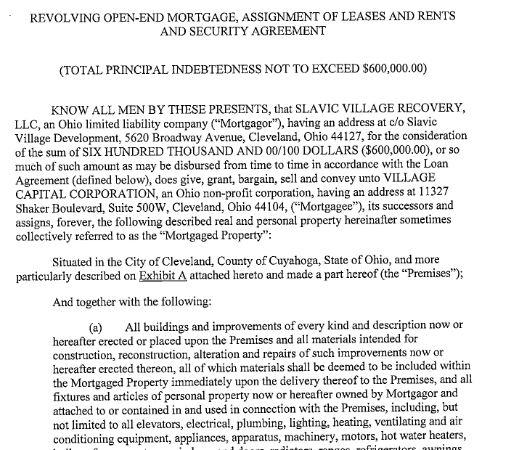 Village Capital Corporation aka Cleveland Neighborhood Progress Inc. $600K mortgage loan to SV Recovery