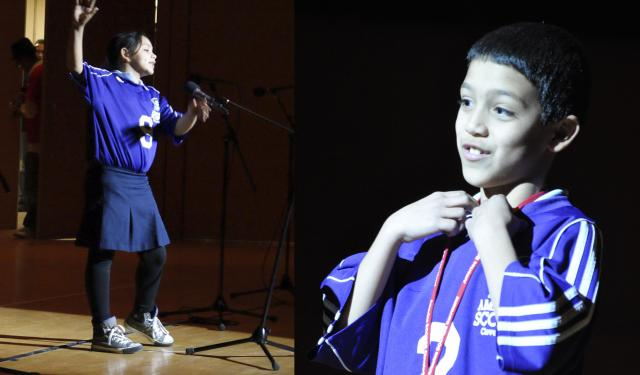 Tamia and Sebastian perform their original poems at the 2011 America SCORES Cleveland Poetry SLAM!
