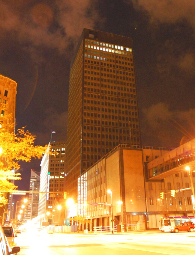 Marcel Breuer Cleveland Trust Tower at night